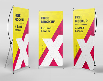 Free X-Stand banner mockups