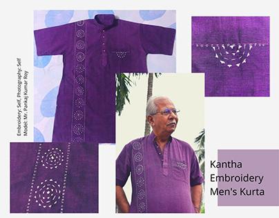 Self-embroidered men's kurta