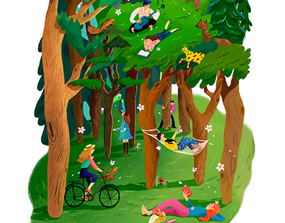 Illustration used as a spring picnic concept cover