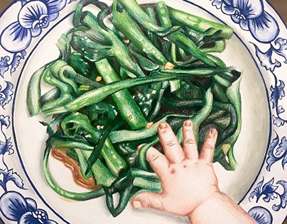 On the old china plate was a tiny finger