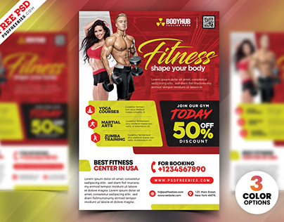 Gym Fitness Center Flyer PSD