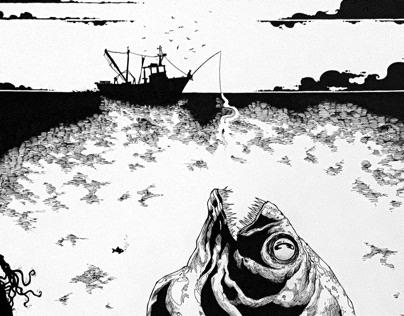 Giant piranha with fisherman