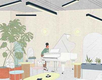 """NOTa coffee""- interior concept for coffe house"