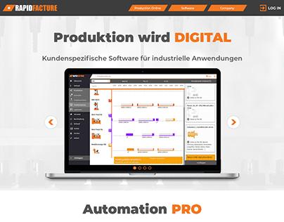 RapidFacture Produktion Landing Page Design