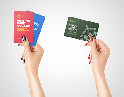 Business Card in a Hand Mockup PSD