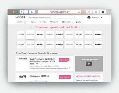Design de Interface e Frontend - Página Cupom Moda it