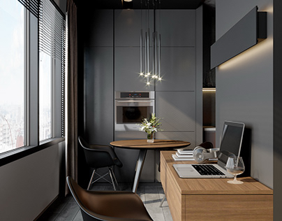Contemporary flat in dark scheme