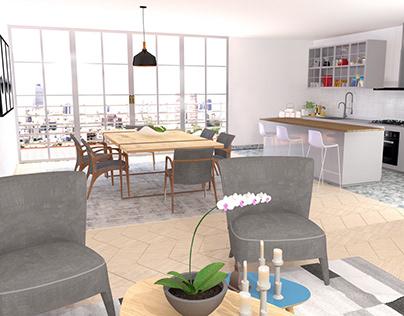 Diseño de zona social de un Apartamento
