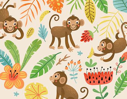 Cute funny monkeys. Characters, illustrations, pattern.