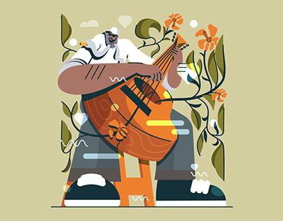 Man with Guitar Flat Illustration