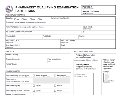Applications for the Pharmacy Examining Board of Canada