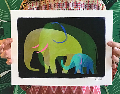 """Elephant Family"" print for auction"