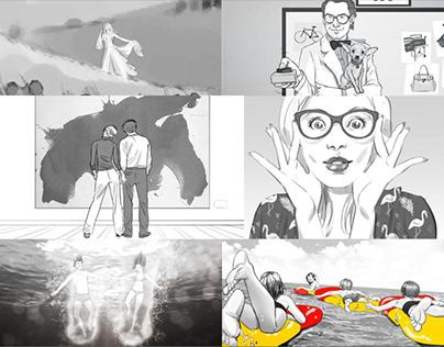 BW advertising storyboards
