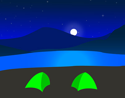 Night at Camp Site Illustration