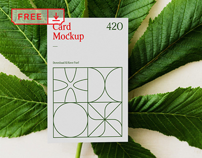 Free Card with Leaf Mockup