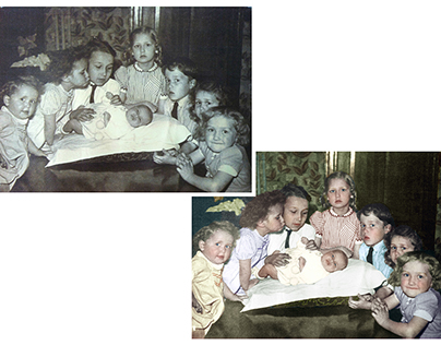 Colorisation of a photograph of eight siblings
