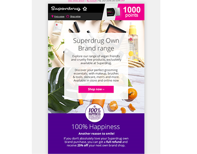 Superdrug Own Brand - Introduction eCRM campaign