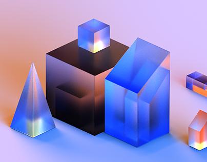 Crystal Cube c4d practice