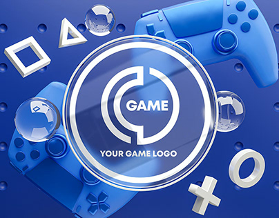 Gaming Glass Logo Mockup Gamepad Pack
