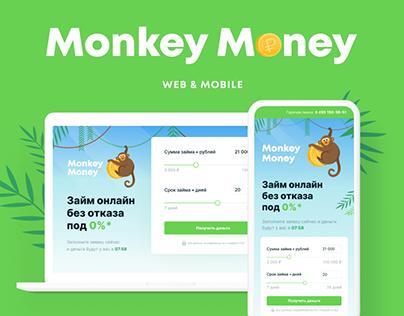 Monkey Money · microfinance company landing page/mobile