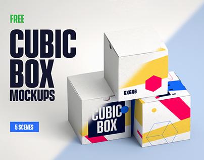 5 FREE Cubic Box Mockups
