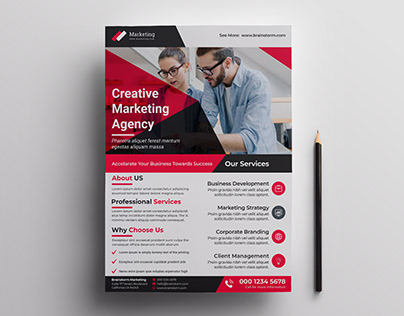 Creative Red Corporate Business Marketing Flyer Design