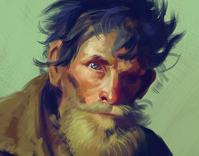 "Digital Painting Study I -  ""Poor man "" by Ilya Repin"
