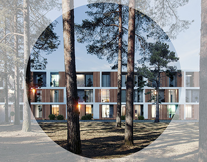 Visualizations of pine forest hotel