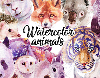 36 Watercolor animals