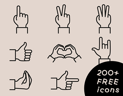 Gestures free icon set (200+ icons)