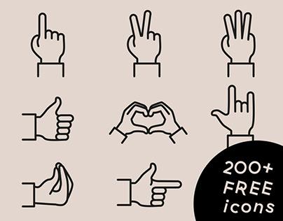 Gestures free icon set (200+ icons)