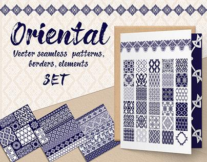 Oriental seamless patterns, borders, elements set