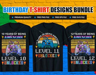 Gamer Birthday T-Shirt Design Bundle V.1