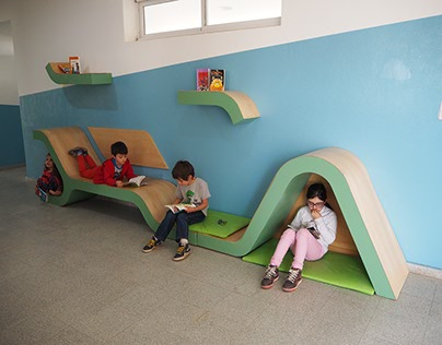 Espacio de lectura en escuela primaria