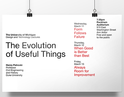 """Evolution of Useful Things"" Lecture Posters"