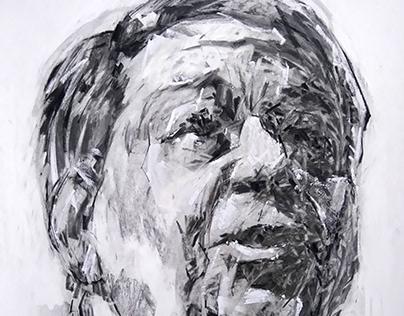 """M. Chatzidakis"". Charcoal, chalk on paper 70x50 cm"