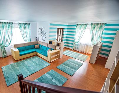 Design interior rezidential - living turcoise