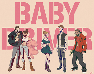 BABY DRIVER (2017) Character Illustration