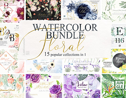 Watercolor BUNDLE 15 Collections in 1