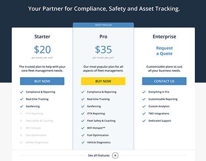 Pricing webpage for KeepTruckin