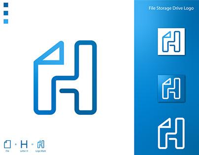 Modern H Letter Drive Logo Mark