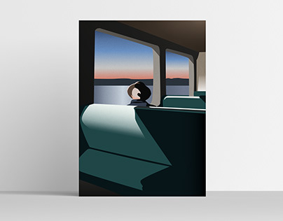 Man on the train - Illustration