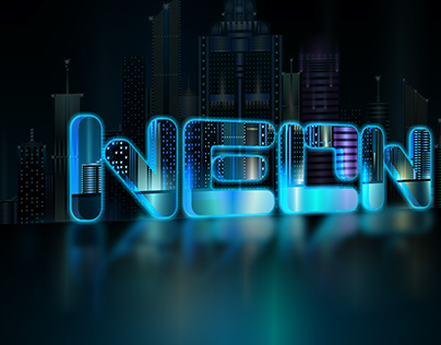 """Neon City"" Text Mockup"