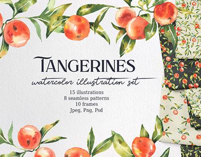 Watercolor tangerines