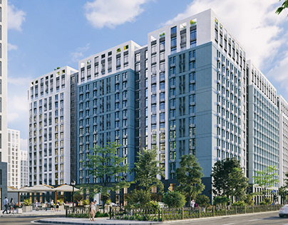 3D exterior visualization of residential complex- UA