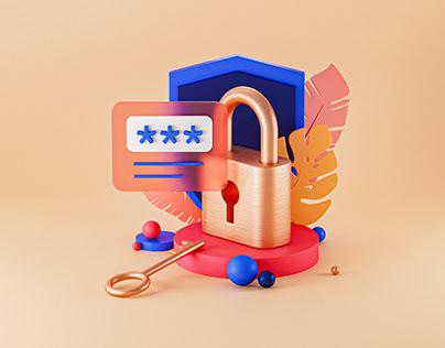 Login 3D Illustration