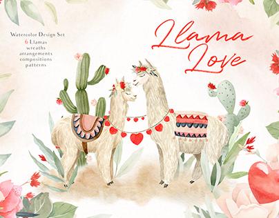 Love Llama - Valentines Day Watercolor Clipart