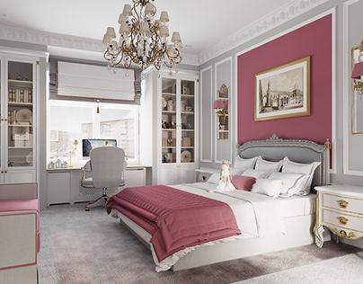 Моделирование и визуализация детской спальни 28 к.м