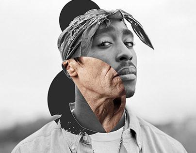 Tupac digital collage portrait