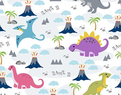 Seamless Cute Dino Family Pattern